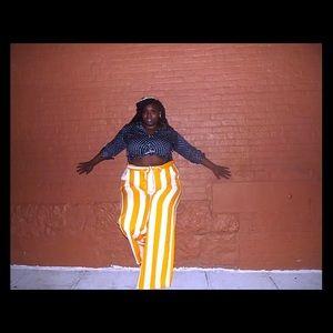 Pants - Yellow and White Palazzo pants